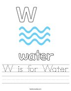 W is for Water Handwriting Sheet
