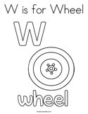 W is for Wheel Coloring Page