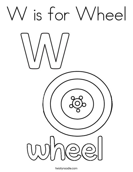 W is for Wheel Coloring Page Twisty Noodle