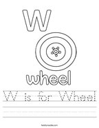 W is for Wheel Handwriting Sheet