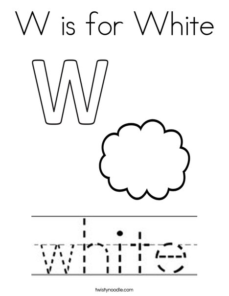 W is for White Coloring Page