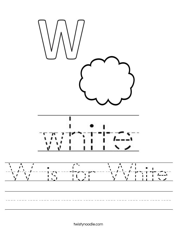 w is for white worksheet twisty noodle. Black Bedroom Furniture Sets. Home Design Ideas