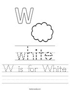 W is for White Handwriting Sheet