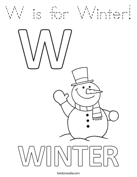 W is for Winter Coloring Page