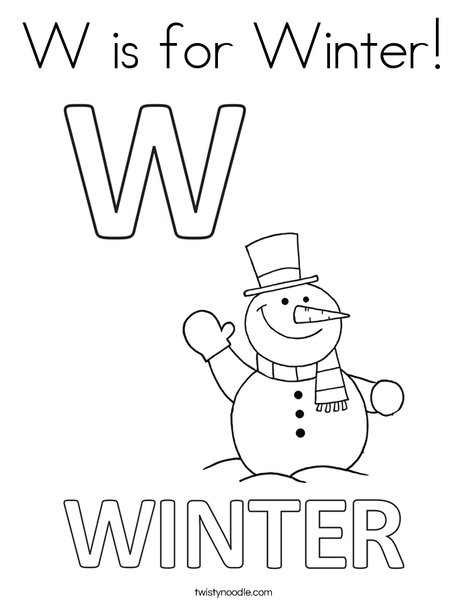 W is for Winter Coloring Page - Twisty Noodle