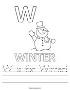 W is for Winter Handwriting Sheet