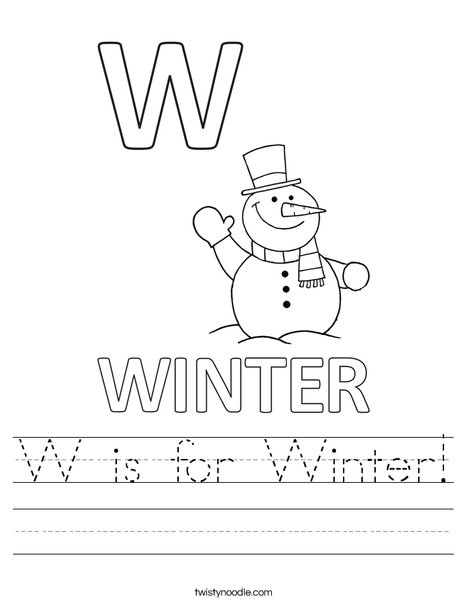 W is for Winter Worksheet - Twisty Noodle