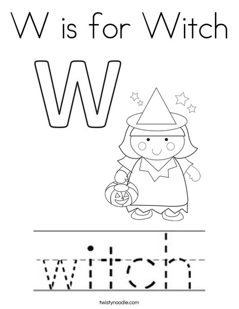 W is for Witch Coloring Page - Twisty Noodle