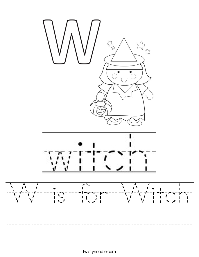 W is for Witch Worksheet