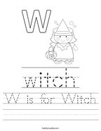 W is for Witch Handwriting Sheet
