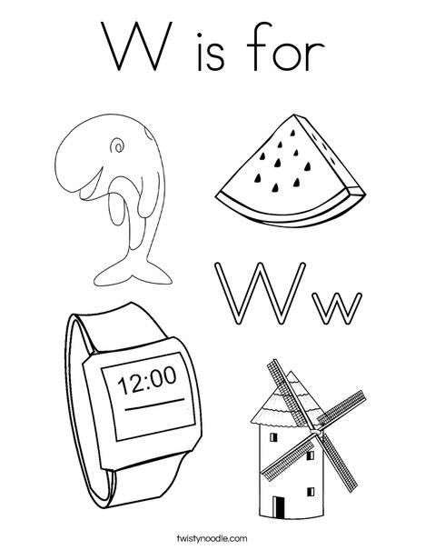 W is for Coloring Page