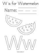 W is for Watermelon Coloring Page