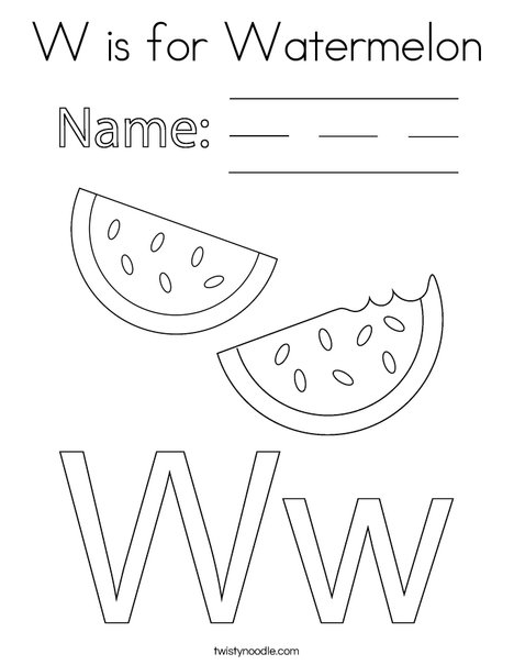 W is Watermelon Coloring Page
