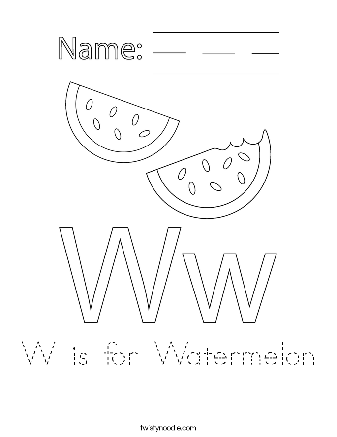 W is for Watermelon Worksheet
