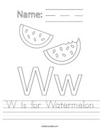 W is for Watermelon Handwriting Sheet