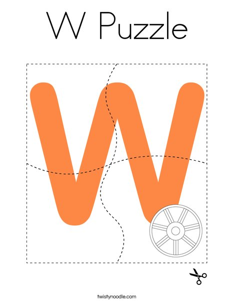 W Puzzle Coloring Page