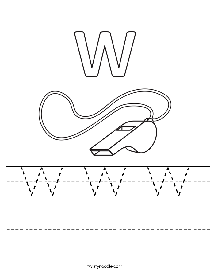 Letter W Worksheets Twisty Noodle – W Worksheets