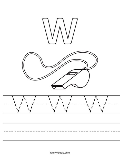 W Whistle Worksheet