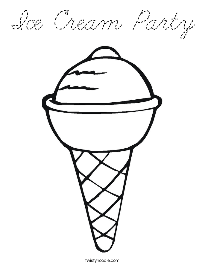 Ice Cream Party Coloring Page