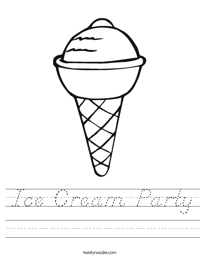 Ice Cream Party Worksheet