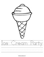 Ice Cream Party Handwriting Sheet