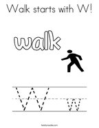 Walk starts with W Coloring Page