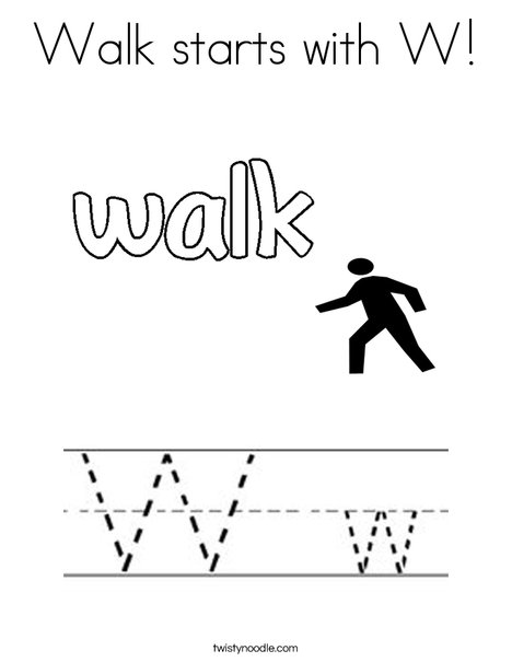 Walk starts with W. Coloring Page