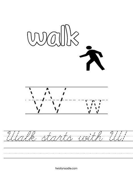 Walk starts with W. Worksheet