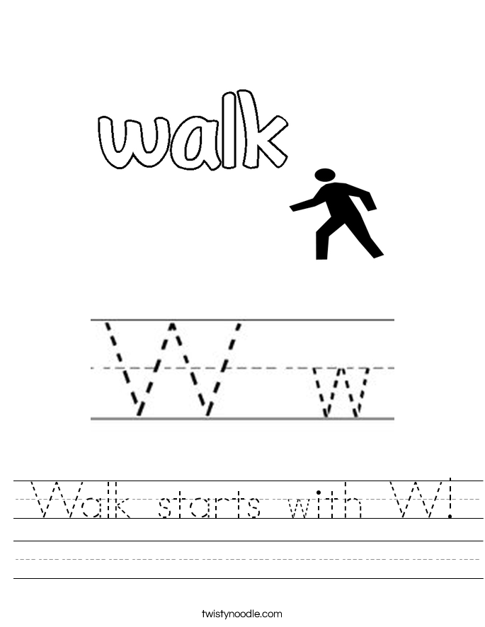 Walk starts with W Worksheet