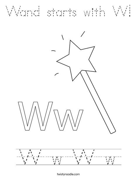 Wand starts with W! Coloring Page