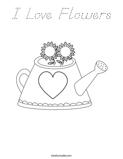 flower watering bucket cartoon sketch coloring page