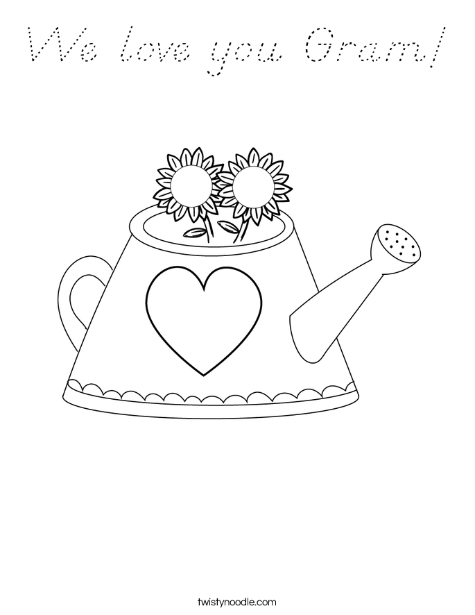 We love you Gram Coloring Page