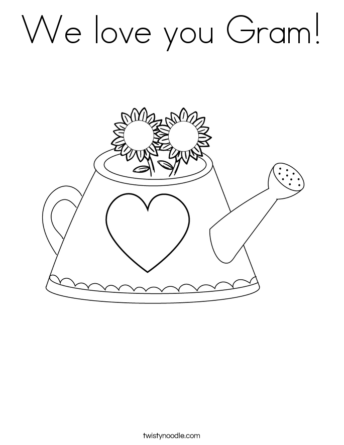 We love you Gram! Coloring Page
