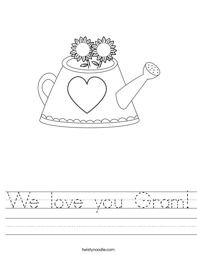 We love you Gram! Worksheet