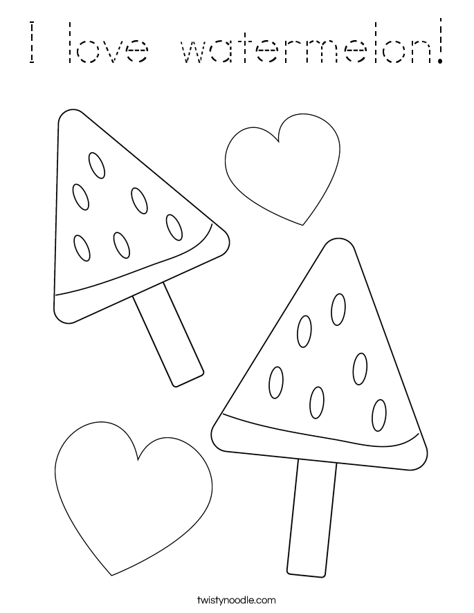 I love watermelon! Coloring Page