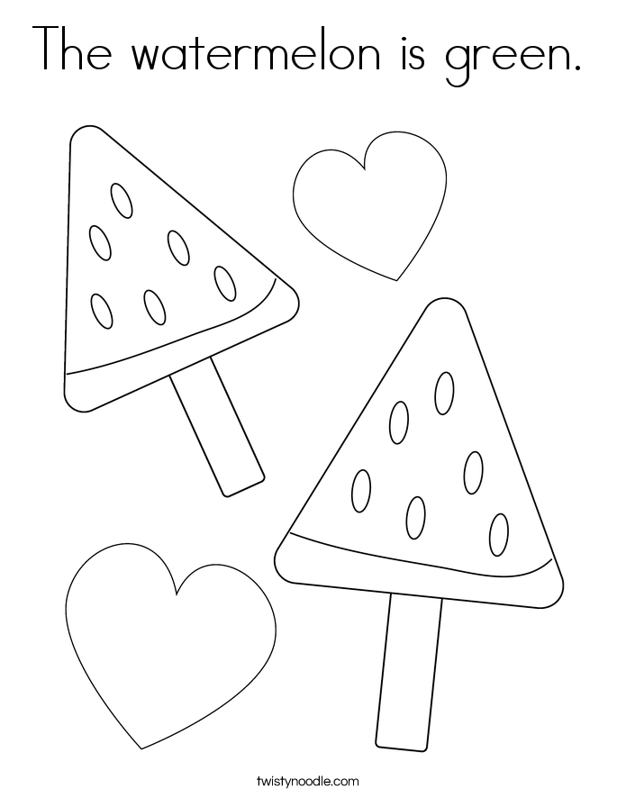 The watermelon is green. Coloring Page