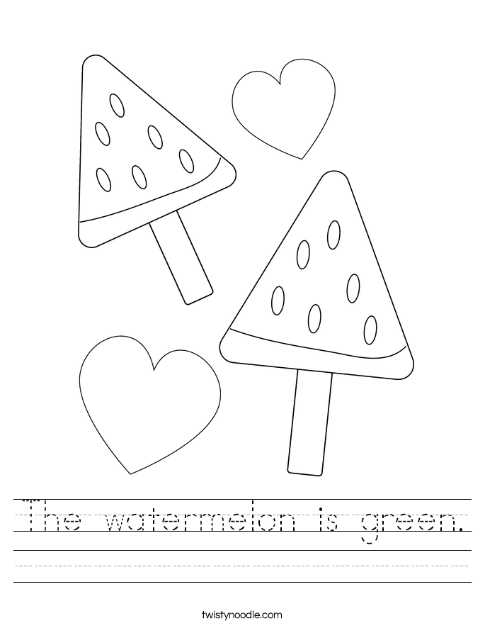 The watermelon is green. Worksheet