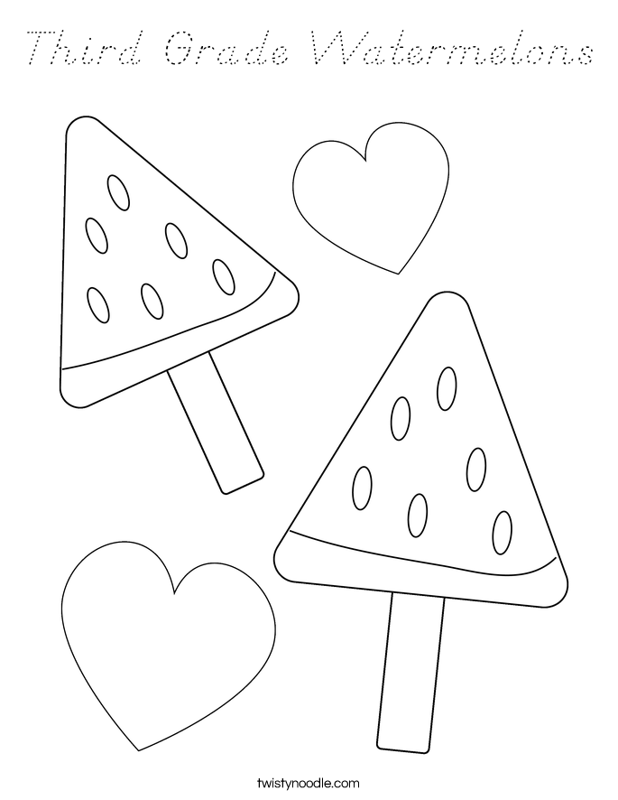 Third Grade Watermelons Coloring Page