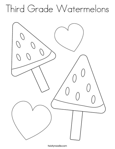 Third Grade Watermelons Coloring Page - Twisty Noodle