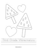 Third Grade Watermelons Worksheet