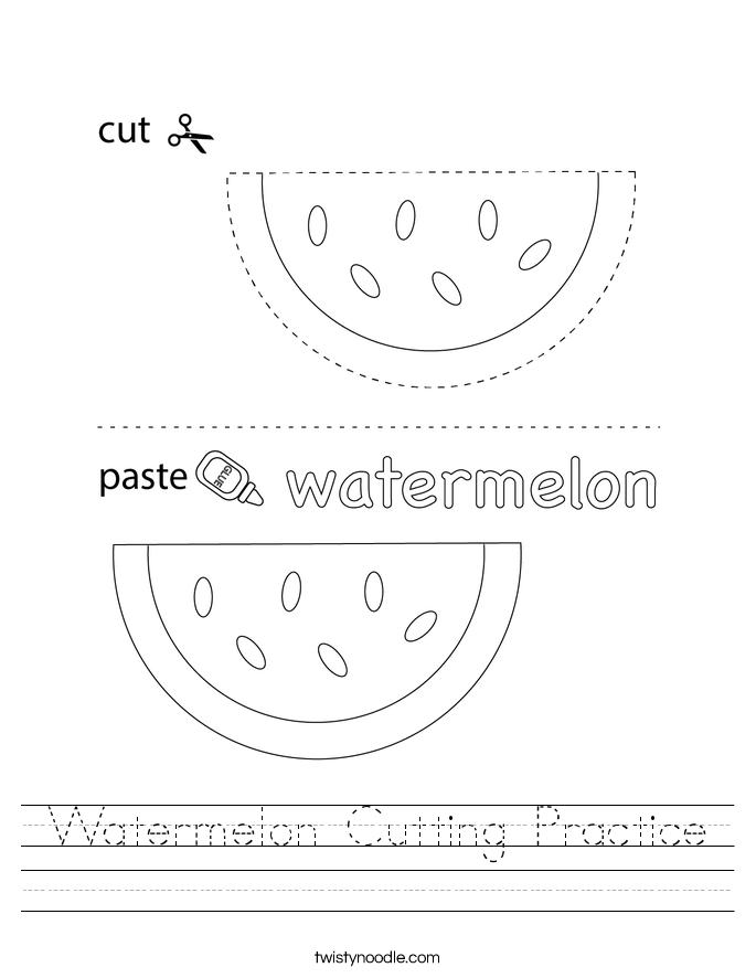 Watermelon Cutting Practice Worksheet