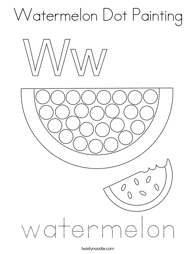 Watermelon Dot Painting Coloring Page