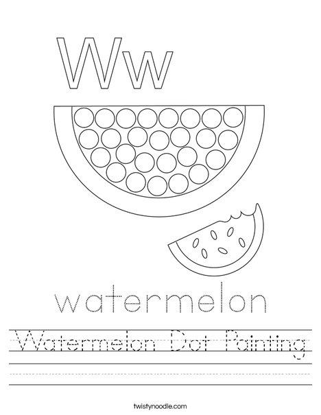 Watermelon Dot Painting Worksheet