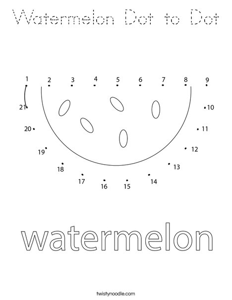 Watermelon Dot to Dot Coloring Page