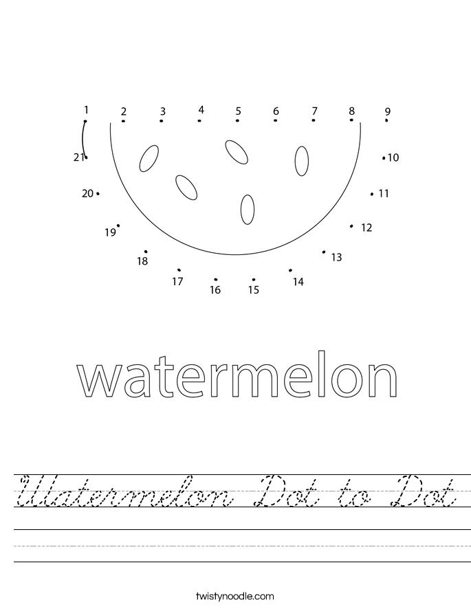 Watermelon Dot to Dot Worksheet