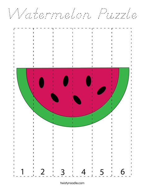 Watermelon Puzzle  Coloring Page