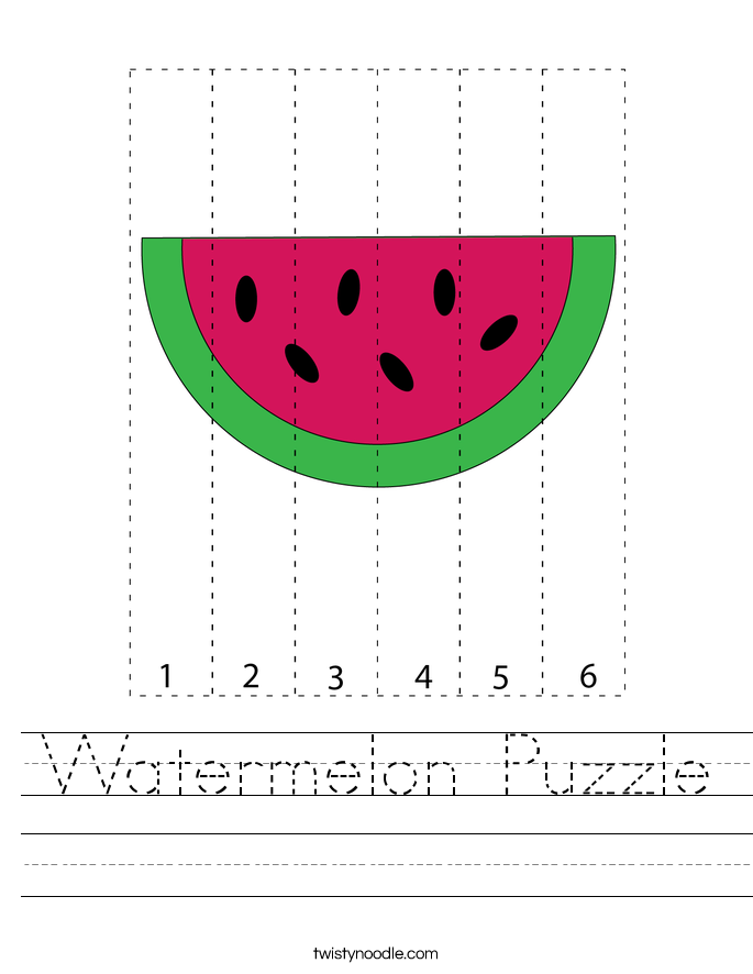 Watermelon Puzzle Worksheet
