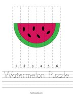 Watermelon Puzzle Handwriting Sheet