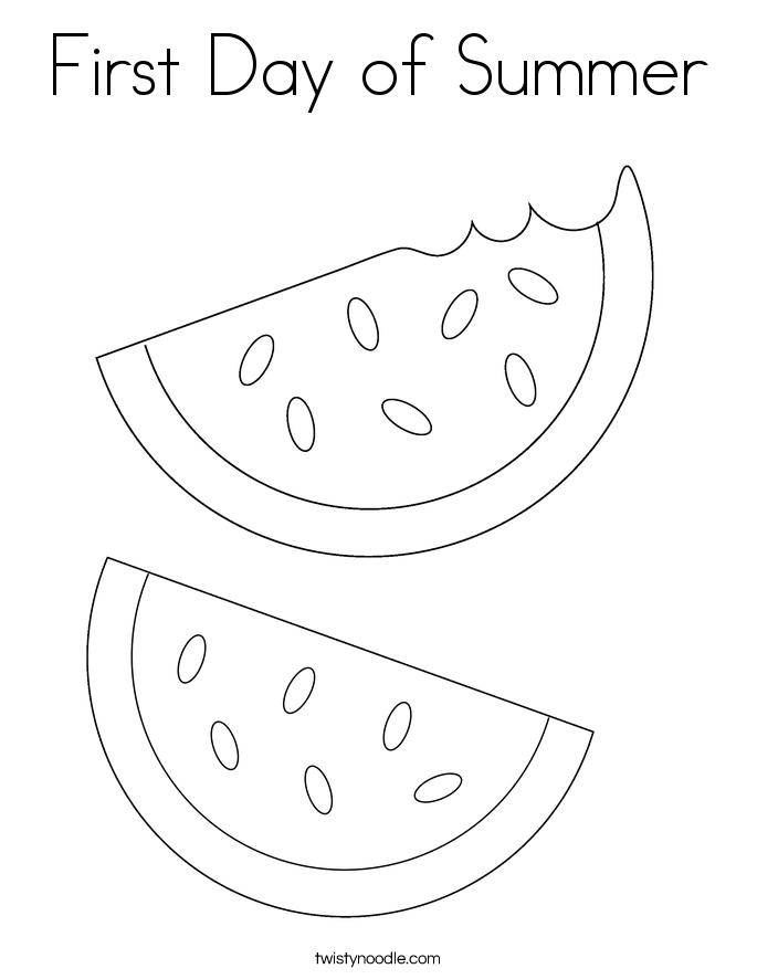 First Day Of Summer Coloring Page