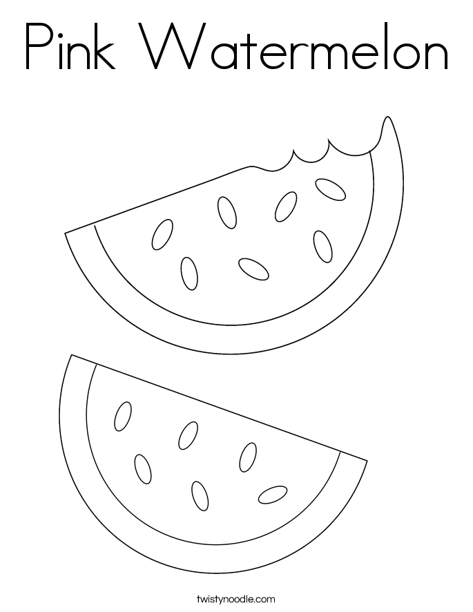 Pink Watermelon Coloring Page